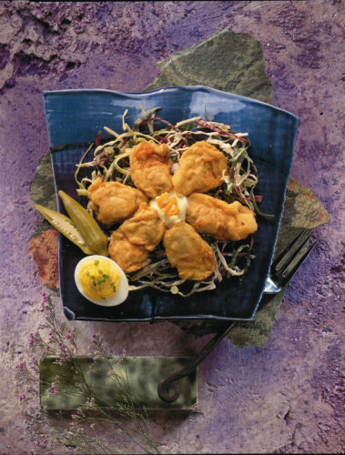 Fried Virginia Oysters With Collard Slaw and Crème Fraiche