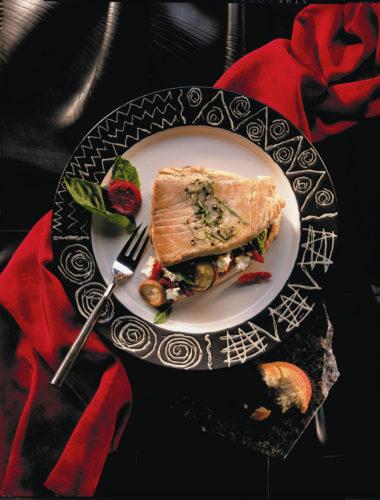 Pepper Seared Yellow Fin Tuna Filled With Virginia Goats' Cheese,* Sundried Tomatoes, Shiitake Mushrooms, Fresh Basil And Garlic